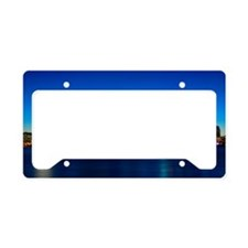 Boston skyline with moon. License Plate Holder