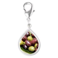 Mixed olives Silver Teardrop Charm