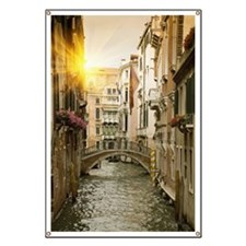 Buildings and bridge on urban canal, Venice Banner