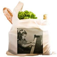 Young girl playing piano Reusable Shopping Bag