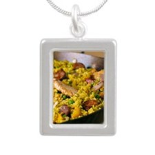 Paella Silver Portrait Necklace
