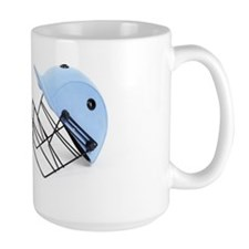 Two cricket helmets facing each other , Mug