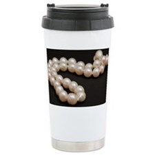 white pearls on black Ceramic Travel Mug