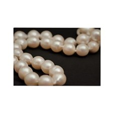 white pearls on black Rectangle Magnet