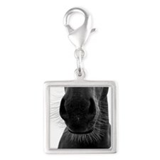 Horse snout and whiskers Silver Square Charm