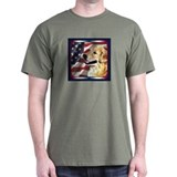 Golden Retriever US Flag Dark Colored T-Shirt