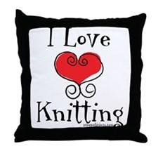 I Love (heart) Knitting Throw Pillow