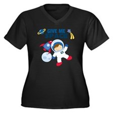 Give Me Spac Women's Plus Size Dark V-Neck T-Shirt