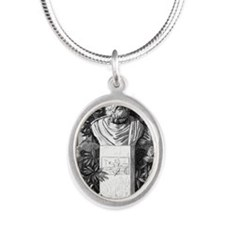 Plato, Ancient Greek philosop Silver Oval Necklace
