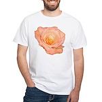 Peach Rose White T-Shirt