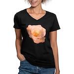 Peach Rose Women's V-Neck Dark T-Shirt