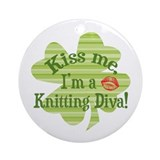 Kiss me, ...Knitting Diva Ornament (Round)