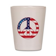 American Flag Peace Sign Shot Glass