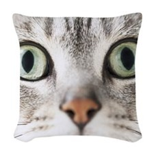 Cat, close-up Woven Throw Pillow