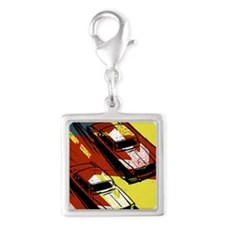 Two cars racing Silver Square Charm