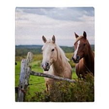 Two horses stand near fence in farm  Throw Blanket
