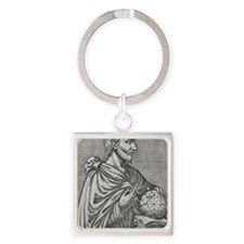 Pythagoras, Ancient Greek mathemat Square Keychain