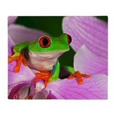 Red-eyed tree frog on flower Throw Blanket