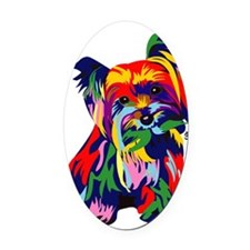 Bright Rainbow Yorkie Oval Car Magnet