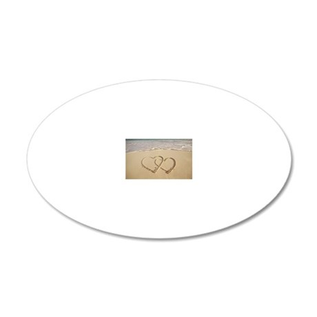 Two overlying hearts drawn o 20x12 Oval Wall Decal