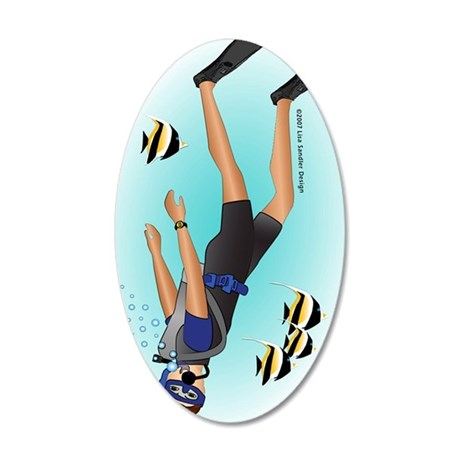 Scuba man brunette ornament 35x21 Oval Wall Decal