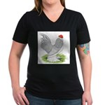 Self Blue Rooster Women's V-Neck Dark T-Shirt