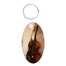 A double bass in the corner Keychains