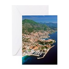 Aerial view of a city, Monte Carlo,  Greeting Card