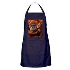A mother and baby orangutan share a h Apron (dark)