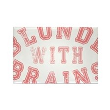 Blonde with Brains Rectangle Magnet