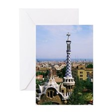 A view over Barcelona to the sea, fr Greeting Card