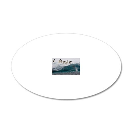 Adelie Penguins diving into  20x12 Oval Wall Decal