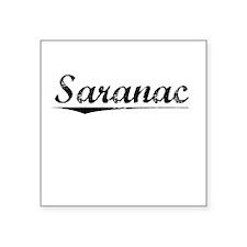 "Saranac, Vintage Square Sticker 3"" x 3"""