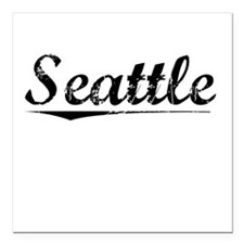 "Seattle, Vintage Square Car Magnet 3"" x 3"""