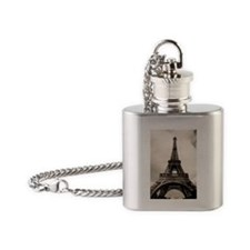 Amazing Eiffel Tower in Paris, Fran Flask Necklace