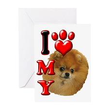I Love My Pomeranian Greeting Card