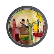 Tuscany wine art Wall Clock