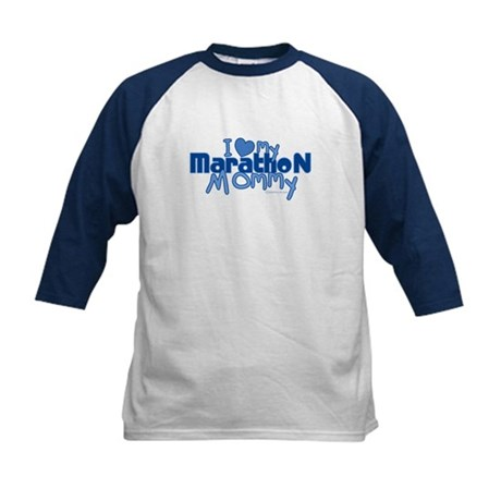 I Love My Marathon Mommy Kids Baseball Jersey