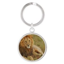 male lion kenya collection Round Keychain