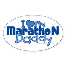 I Love My Marathon Daddy Oval Decal