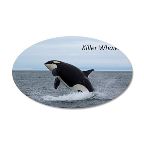 Killer Whales 35x21 Oval Wall Decal