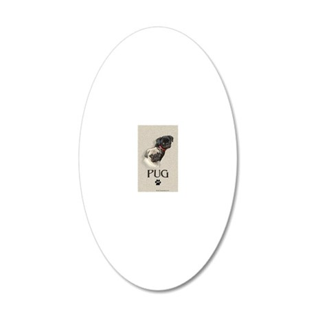 Two Pugs 20x12 Oval Wall Decal