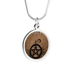Pagan Grimoire Silver Round Necklace
