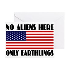 NO ALIENS HERE Greeting Cards (Pk of 10)