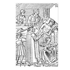 15th century woodcut show Postcards (Package of 8)