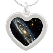 Andromeda Galaxy, UV image Silver Heart Necklace