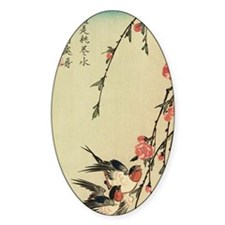 Hiroshige Swallows and Peach Blosso Decal