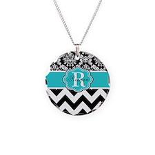 Blue Damask Chevron Personalized Necklace