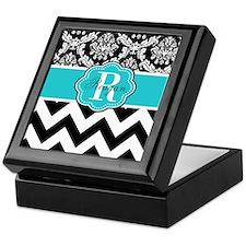 Blue Damask Chevron Personalized Keepsake Box