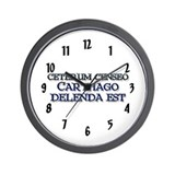 &quot;Ceterum Censeo: Carthago&quot; Wall Clock
